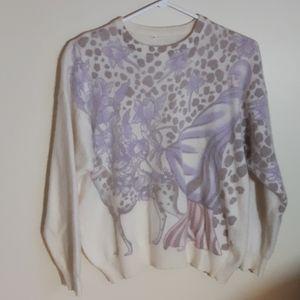 Vintage Angora Wool Blend Sweater Art Deco Lady